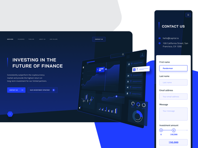 WIP - Cryptocurrency investment landing page contact us crypto landing interface minimalist clean webdesign bitcoin investment calculator slider dark web cryptocurrency mobile ui responsive chart dark ui blue web figma ui design landing page