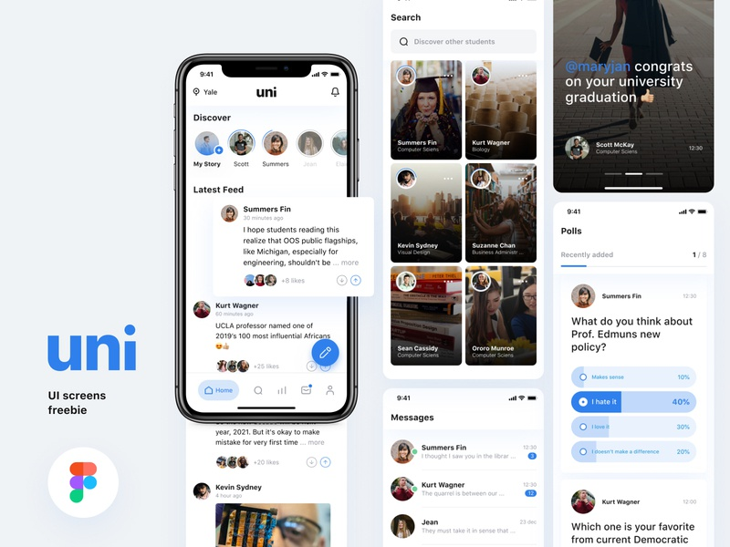 [Freebie] Uni-Social media app for college students mobile freebies messages polls discover app stories social media app ui  ux mobile ui university college app mobile app figma