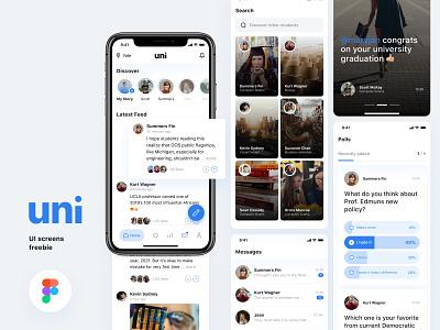 [Freebie] Uni-Social media app for college students mobile freebies messages polls discover app stories social media app ui  ux mobile ui university college app mobile app figma