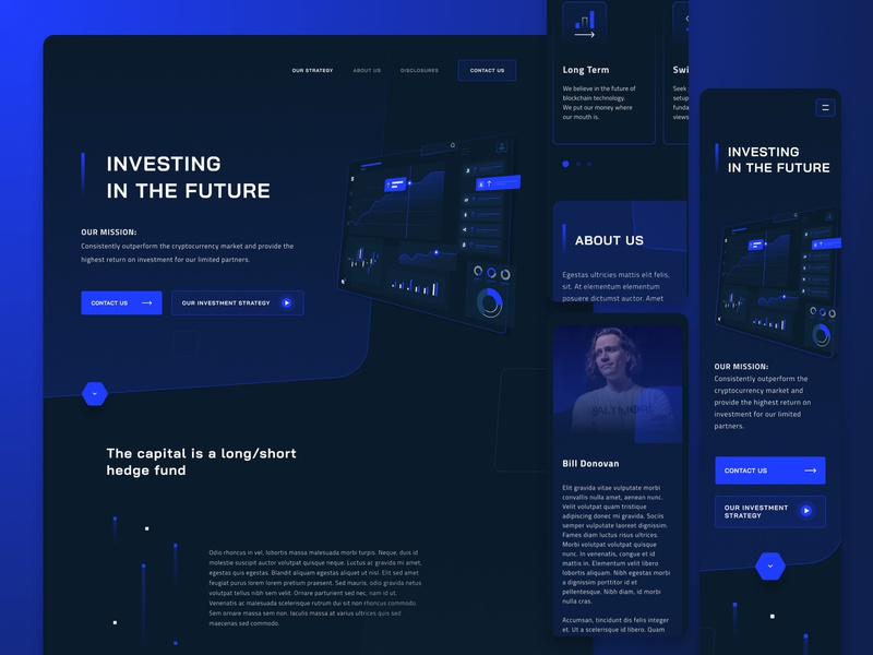 Cryptocurrency investment landing page exploration isometric dark futuristic mobile uiux dark chart blue dark about us perspective mockup dark web mobile ui responsive crypto mobile calculator investment figma dark ui crypto dark bitcoin