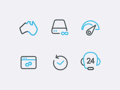 Hosting Icons Set server cpanel 24h reliable speed australia icons hosting