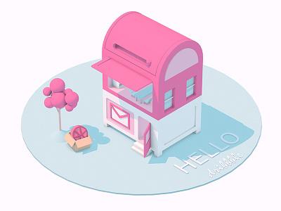 Hello! Dribbble mailbox. building house illustration 3d pink invitation dribbble mailbox debut first shot