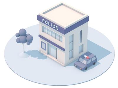 Police station  illustration house police building 3d
