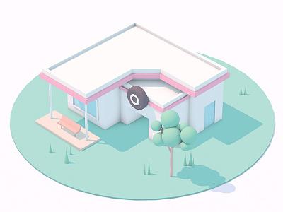 The garage green building c4d house illustration 3d dribbble