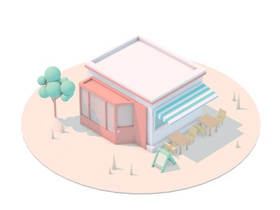 Chophouse house c4d bookshop restaurant chophouse building illustration cinema 4d 3d