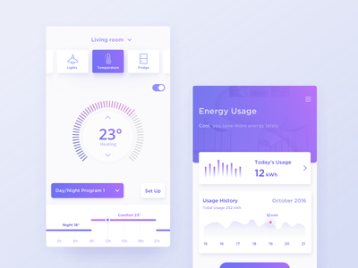 Smart Home App temperature ui dashboard control rooms smart house home chart app
