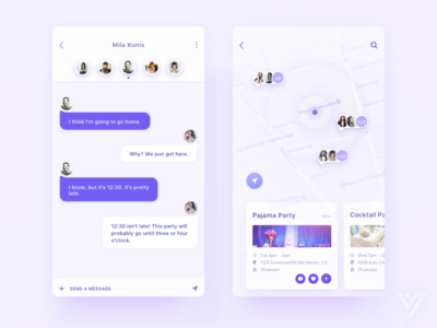 Party App clean,mobile chat find social ux party map date ui app