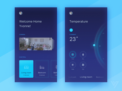 Smart Home App_Dark & Light ui temperature smart rooms house home dashboard control chart app