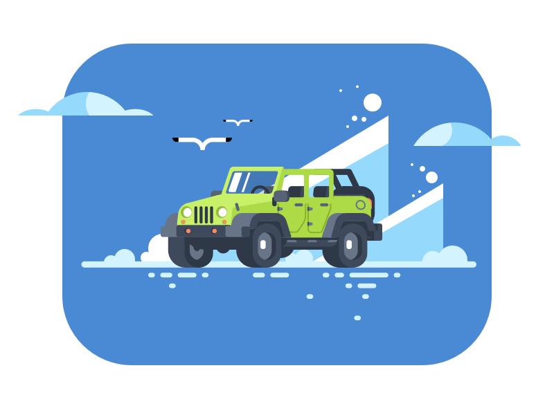 JEEP vector vehicle car flat illustration design