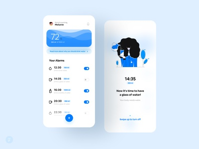 💧 Water Intake App floating button mobile concept application alarm app toggle switch toggle alarm wave light blue black blue design blue drink intake water intake water app ux ui