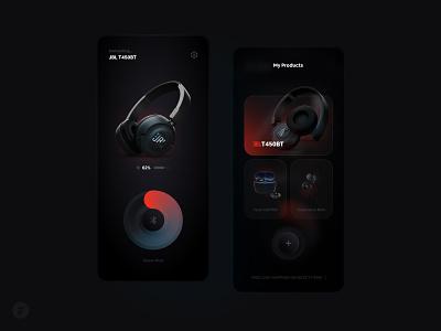 Headphone Controller App | JBL glassmorphism app design colors application concept mobile dark dark app dark theme headphone skeuomorphism neumorphism neumorphic neumorph neumorphic design ui ux uiux dark ui