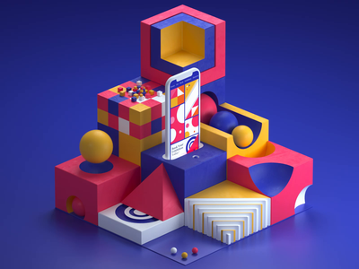 Charlotte Art Exhibition branding gradient app web ux ui after effects motiondesign motion c4d octane 3d animation