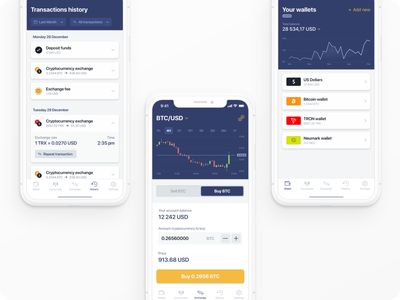 Crypto app ux financial interface ethereum mobile design neat minimal finance banking coin usd cryptocurrency dark blue crypto trader dashboard ui bitcoin bitcoin wallet bitcoin services