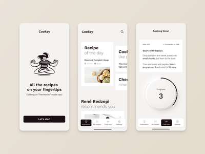Cooking Mobile app thermomix delicious culinary dishes kitchen bakery webinterface service beverage design startup chef ui  ux restaurant foodie cooking class minimal recipe cuisine recipe app cooking app