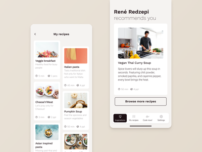 Cooking Mobile app cooking app ios bakery thermomix restaurant culinary food app minimal ux  ui dashboard ui mobile app startup tasty recipe cook kitchen interface web service beverage
