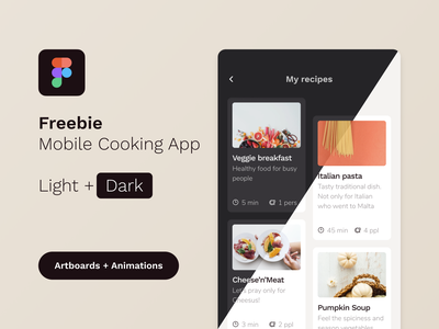 [FREEBIE] Mobile Cooking App mockup template download mockup free animation assets figma freebie cooking app food app ux  ui dashboard ui mobile app startup recipe app cooking kitchen interface web service beverages