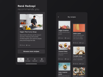 [Freebie] Cooksy — Cooking app design template download mockup figma freebie foodie minimal dark mode dark ui ux  ui dashboard ui mobile app design startup tasty recipe app kitchenware service app library app modal flow