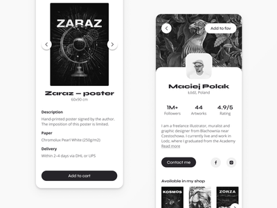 Forma.app — online creative shop ios app dark ui etsy shop artist shopping app flat webapp design creative  design spacex poster illustraion interface dashboard minimal monochrome ux  ui mobile app startup library app modal