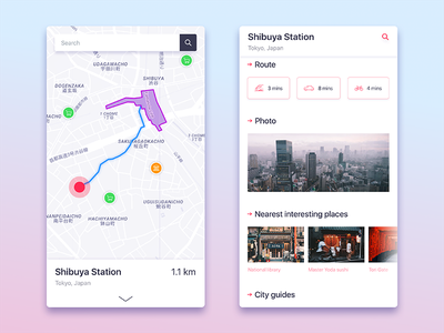 City guide mobile app principle design minimal ux ui guide city route map ios app mobile