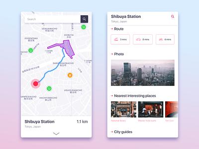 City guide mobile app principle design minimal ux ui guide city route map ios app mobile