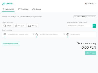 GetBilly - app for bills splitting dashboard status timeline slack interface ux monterail design ui splitting payment pay
