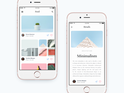 Feed and Details page dashboard app minimal ui story social news mobile kit ios ebook article