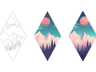 Adventure is calling - Illustration mountains ui ux design adventure texture landing color vector illustration hero gradient