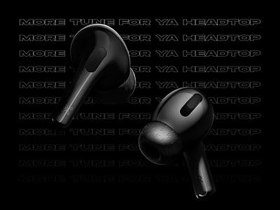 Keakie x AirPods Pro fashion product logo brand identity identity minimal advertising adobe creative branding graphic visual design concept 3d black headphones ui apple airpods