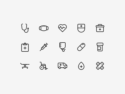 Hospital Icons app icons hospital icon icon design vector ui icon