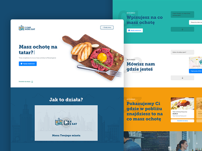 I Can Here Eat - Landing page multicolor chatbot bot food page landing