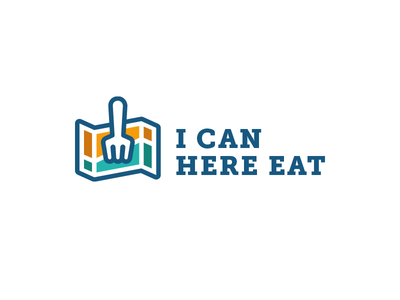 I Can Here Eat - logo fork color colorful map food eat logo