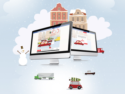 PETROL - WINTER FACEBOOK GAME icon gifts car winter snow play illustration game facebook cute christmas city