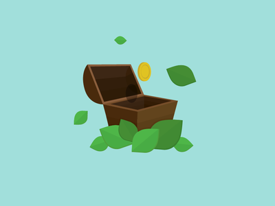 Motava Icon for Saving money save money chest pencil nature leaves illustration icon green gold art