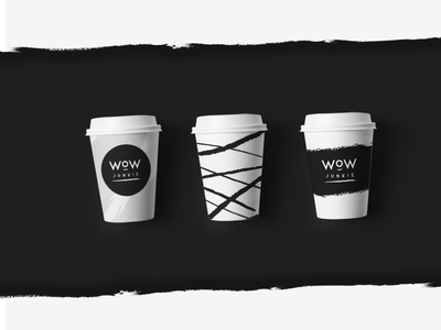 Wow Junkie - visual identity packaging logo lettering fashion cup wow cosmetics coffee brush brand icon mockup