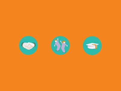 Icons for Volonteri organisation design creative ui logo education friends school people set web illustration icon