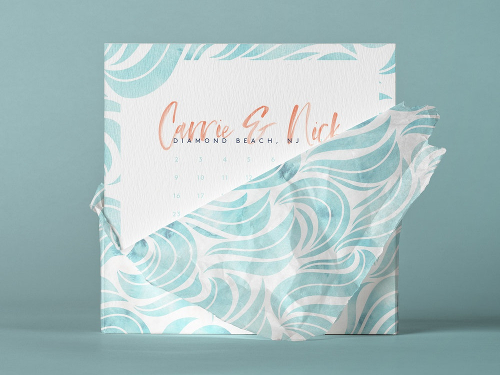 Carrie And Nick's Save The Date watercolor beach script square save the date invitation design