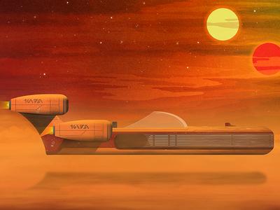 Star Wars Land Speeder illustration star wars
