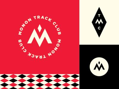 Monon Track Club Logo branding identity badge track vector type icon typography illustration design logo