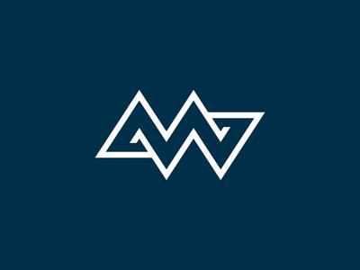 Personal Branding Monogram icon design graphic w m identity white blue monogram logo branding personal