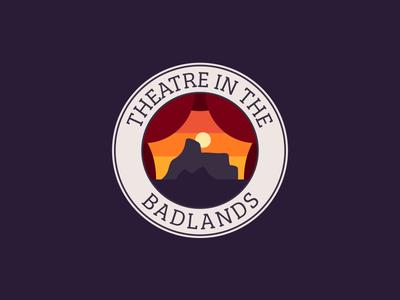 Theatre In The Badlands desert sunset badge logo alberta hoodoos badlands arts theatre travel drumheller