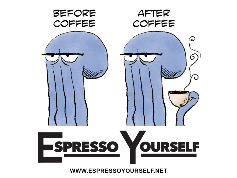 Before Coffee Sticker coffee comics illustration