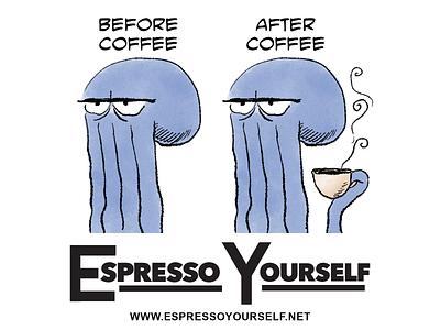 Before Coffee Sticker coffee comics illustration