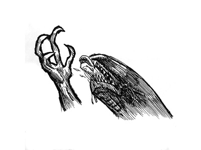 Alien pen illustration scifi alien