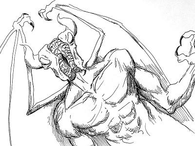Split-Faced Demon dnd fantasy illustration