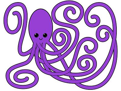 Purple Octopus illustrator vector illustration