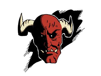 Red Devil illustrator mask devil illustration cartoon