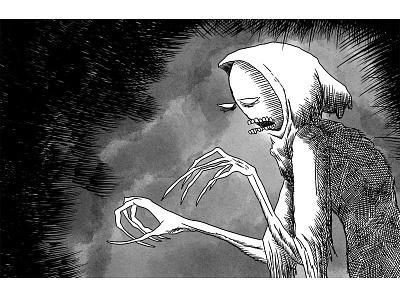 Hooded Ghoul horror comics cartoon illustration