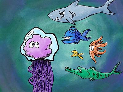 Jellyfish and friends jellyfish comics cartoon illustration