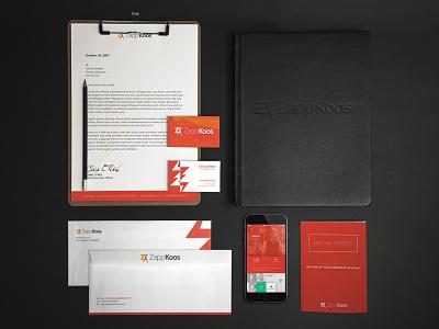 ZappKoos Branding: Shot 2 a4 business cards envelopes print brand identity branding zappkoos athletic runner social media