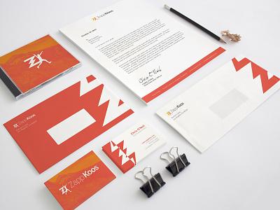 ZappKoos Branding: Shot 3 a4 business cards envelopes print brand identity branding zappkoos athletic runner social media